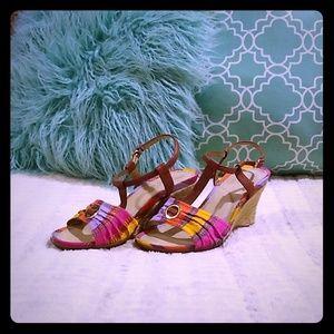 Rockport T Strap Wedge Sandal SZ 7.5 W EUCa